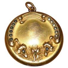 Gorgeous antique gold filled GF locket with nouveau design