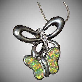 Vintage Native American 925 sterling silver opal inlay butterfly CZ cubic zirconia necklace