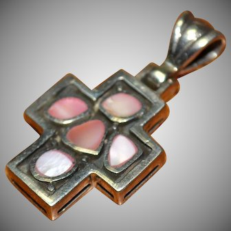 Vintage sterling silver 925 pink red abalone inlay pendant