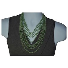 Vintage genuine Jadeite / Jade multi-strand genuine gemstone necklace