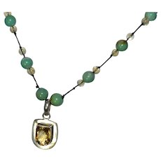 Native American sterling silver 925 inlay faceted citrine pendant on a genuine turquoise bead necklace