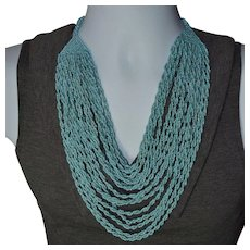 Vintage Southwest Czech glass blue seed bead multi-strand necklace