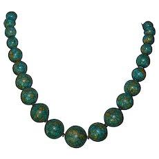 vintage Chrysocolla / Turquoise matrix gemstone strand necklace