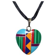Gorgeous Native American all Gemstone inlay heart pendant necklace