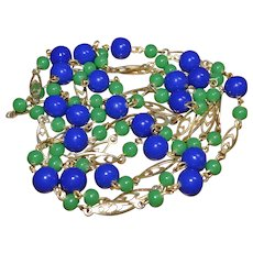 Beautiful vintage gold-tone blue & green bead necklace