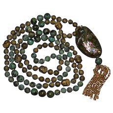 Vintage Tibetan faceted turquoise dangle waterfall necklace accented with Buddha