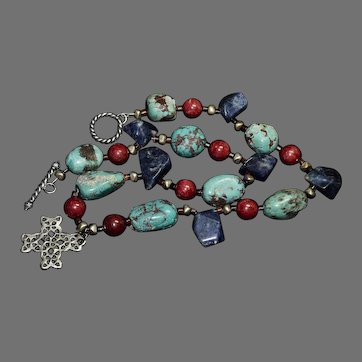 Spectacular vintage chunky Boulder Turquoise, Lapis and Coral gemstone necklace
