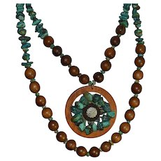 Vintage multi-strand turquoise gemstone and wood boho statement necklace