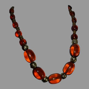 Vintage natural cognac Baltic Amber Necklace