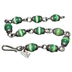 Vintage Sterling silver green tigers eye / cats eye gemstone bead bracelet