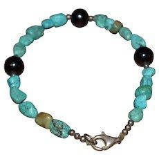 Southwestern turquoise and onyx gemstone bead, sterling silver 925 bracelet