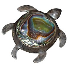 Vintage Sterling silver and abalone shell turtle brooch pin