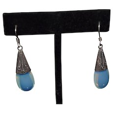 Vintage Santo Domingo Sterling silver blue moonstone gemstone earrings