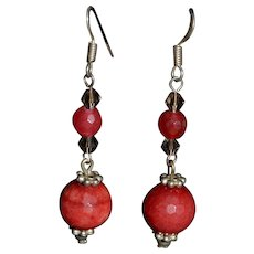 Vintage Native American Sterling silver and red coral gemstone earrings
