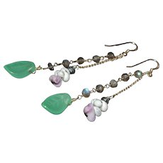 Vintage Native American jade, labradite and shell gemstone long dangle earrings