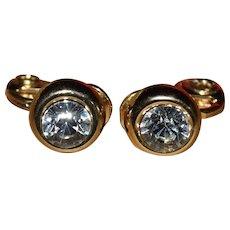 Vintage pair of JJG Gold-tone Clip-on Rhinestone Earrings