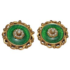 West Germany Rhinestone Green and Gold-tone Clip-on Earrings