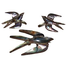 925 Sterling Silver & Abalone Dove Bird Screw-back Earrings and matching Brooch Pin