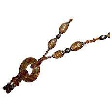 Vintage Crackle Amber Catalin or Bakelite Dangle Statement Necklace