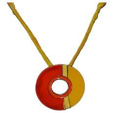 Vintage orange & yellow enamel circle geo statement necklace