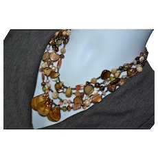 Native American vintage Baltic amber, multiple gemstone and abalone shell boho necklace