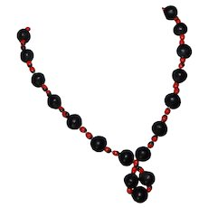 Vibrant vintage black and red nut tribal necklace