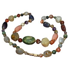 Gorgeous Native American polished gemstone bead necklace