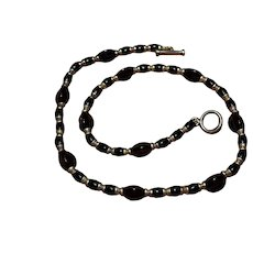 Native American Sterling silver onyx gemstone bead necklace