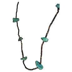 Vintage Native American turquoise gemstone and heishi shell necklace