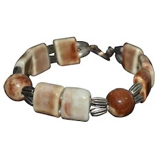 Unique vintage Southwestern earth tone glazed clay bracelet
