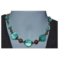 Stunning Carolee blue glass bead statement necklace