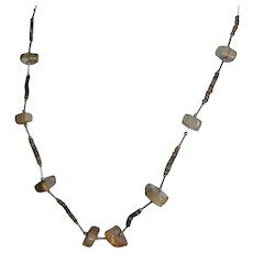 Native American earth-tone gemstone heishi bead necklace