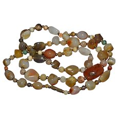 Stunning vintage Native American polished natural gemstone bead necklace