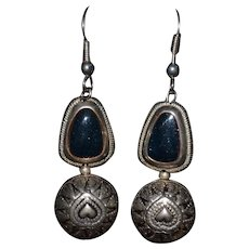 Vintage Native American blue goldstone Sterling silver hook earrings