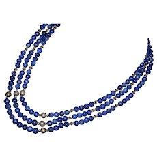 Santo Domingo Native American multi-strand lapis gemstone bead necklace