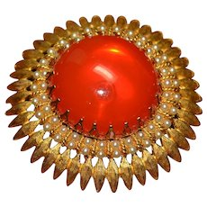 Gorgeous vintage sun gold-tone brooch pin