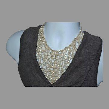 Best Vintage 925 Sterling silver genuine pearl bridal wedding runway choker bib necklace