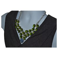 Spectacular vintage Sterling silver green gemstone and druzy bib necklace