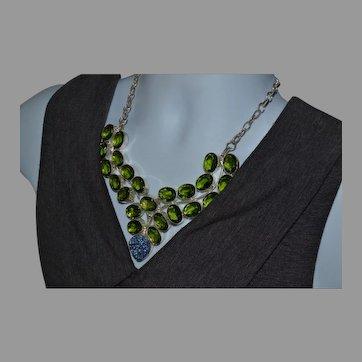 Spectacular vintage Sterling silver green gemstone and druzy bib necklace