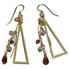 Vintage pair of green enamel and gemstone triangle dangle earrings