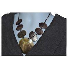Vintage Southwestern large abalone shell statement necklace