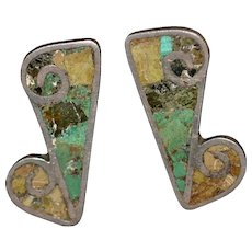 Vintage Native American Sterling silver gemstone inlay screw-back earrings