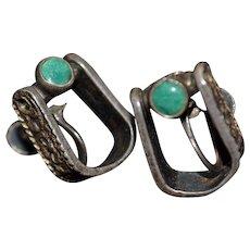 Vintage Native American cowboy stirrup turquoise gemstone inlay screw-back earrings