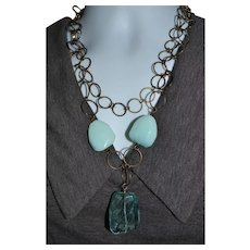 Funky vintage blue gemstone and glass statement necklace