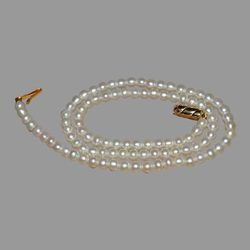 Best Wedding Bridal Akoya round white 5 mm Pearl necklace with gold clasp