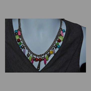 Vintage silver and pastel dangle boho necklace