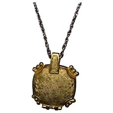 Vintage gold-tone Corday make-up / perfume pendant necklace