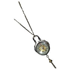 Unique vintage gold-tone sphere pocket watch pendant necklace