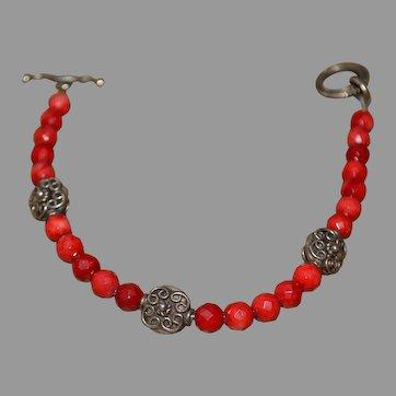 Vintage Southwestern faceted red gemstone bracelet