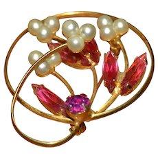 Vintage pink rhinestone flower brooch pin